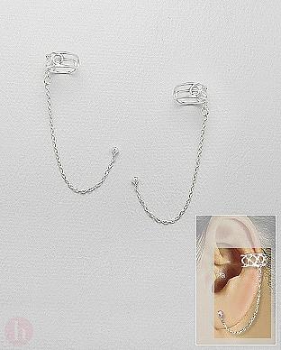 Cercei ear cuffs din argint cu biluta si lantisor