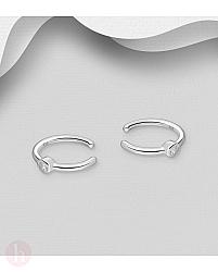 Cercei ear cuffs din argint cu cristal alb