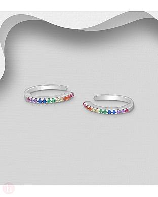 Cercei ear cuffs din argint cu cristale colorate