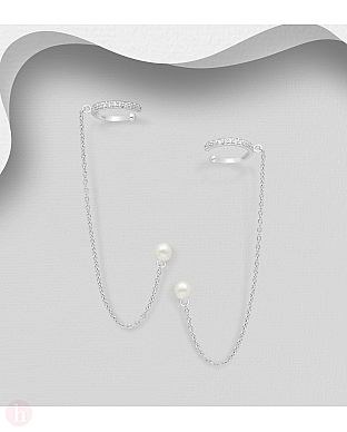 Cercei ear cuffs din argint cu cristale, perle si lantisor