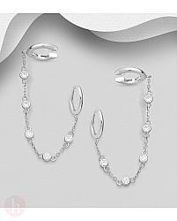 Cercei ear cuffs din argint cu lantisor si cristale
