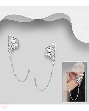 Cercei ear cuffs din argint model veriga, lant si biluta