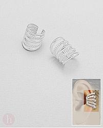 Cercei ear cuffs din argint model verigi rasucite