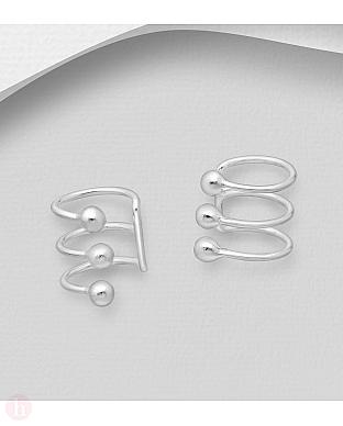 Cercei ear cuffs din argint cu bilute
