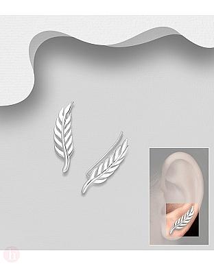 Cercei ear pins - agrafa din argint model frunza