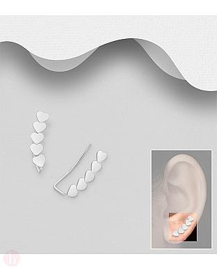 Cercei ear pins agrafa din argint cu cinci inimioare