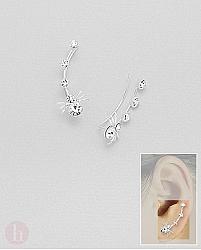Cercei ear pins argint cu paianjen si cristale albe