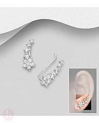 Cercei ear pins argint model flori cu cristale