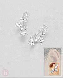 Cercei ear pins din argint cu flori