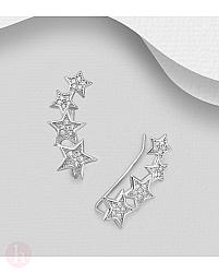 Cercei ear pins din argint cu stele si cristale