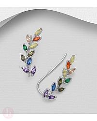 Cercei ear pins din argint model frunza cu cristale colorate