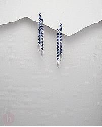 Cercei eleganti din argint cu cristale albastre