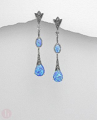 Cercei eleganti din argint cu marcasite si opal albastru
