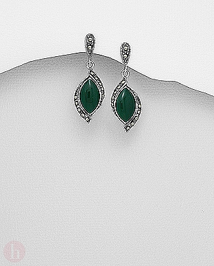 Cercei eleganti din argint cu marcasite si pietre semipretioase verzi
