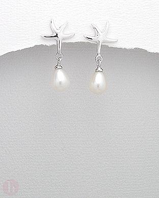 Cercei eleganti din argint cu perle si stea de mare