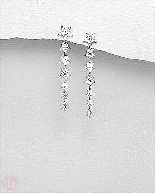 Cercei eleganti din argint model sirag de stelute cu cristale albe
