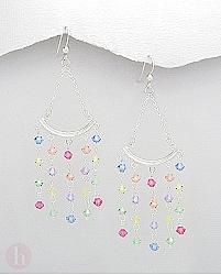 Cercei eleganti din argint tip candelabru cu cristale multicolore