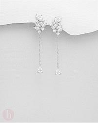 Cercei eleganti, lungi din argint, frunza cu cristale albe
