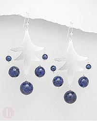 Cercei candelabru frunza cu bilute albastre de lapis lazuli