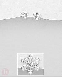 Cercei fulgi de zapada cu cristale