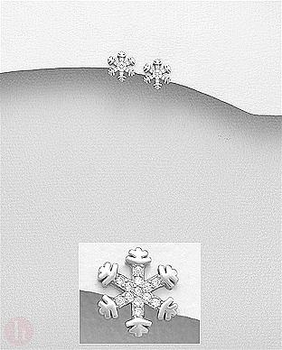Cercei fulgi de zapada din argint rodiat cu cristale albe