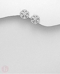 Cercei fulgi de zapada rotunzi din argint cu cristale albe