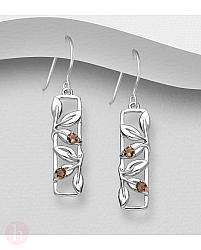 Cercei geometrici din argint cu frunze si cuart