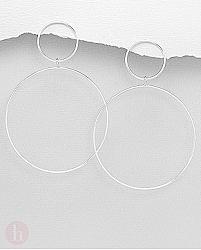 Cercei geometrici din argint model cerc
