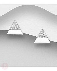 Cercei geometrici din argint model triunghi