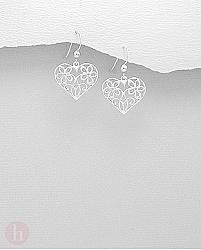 Cercei argint inima doua flori filigran
