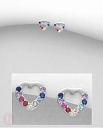 Cercei inimioara cu cristale colorate