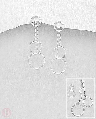 Cercei lungi din argint cu cercuri si lantisoare 2 in 1