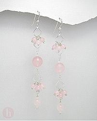 Cercei lungi argint cu bilute de cuart roz