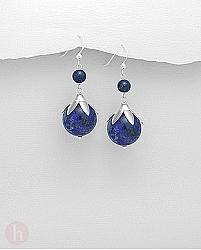 Cercei lungi argint cu bilute lapis lazuli