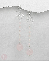 Cercei lungi argint floare cu cuart roz