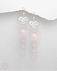 Cercei lungi argint model inima cu cuart roz