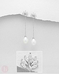 Cercei lungi argint cu perle de cultura, paun si Cubic Zirconia