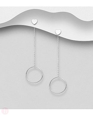 Cercei lungi argint cu cerc, lantisor si inima