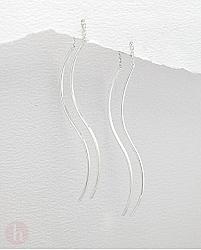 Cercei lungi bare curbate cu lantisor