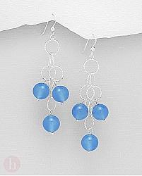 Cercei lungi tip candelabru din argint cu pietre de agate albastre