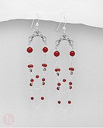 Cercei lungi candelabru din argint cu pietre rosii de coral