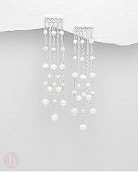 Cercei lungi tip candelabru din argint, model perdea de perle