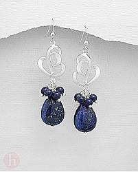 Cercei lungi cu pietre lapis lazuli