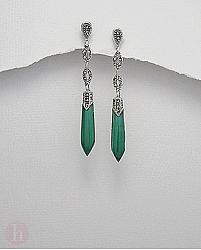 Cercei lungi din argint cu marcasite si pietre verzi