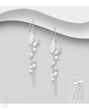 Cercei lungi din argint cu perle si lantisoare