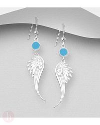 Cercei lungi din argint cu aripi si cerc albastru