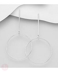 Cercei lungi din argint cu bara si cerc