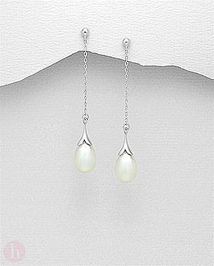 Cercei lungi din argint cu biluta, lantisor si perla alba
