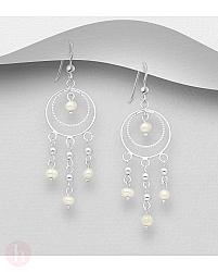 Cercei lungi, candelabru din argint cu bilute, cercuri si perle