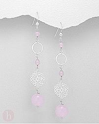 Cercei lungi din argint cu floare, cerc si bilute de cuart roz